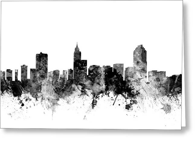 Raleigh North Carolina Skyline Greeting Card by Michael Tompsett