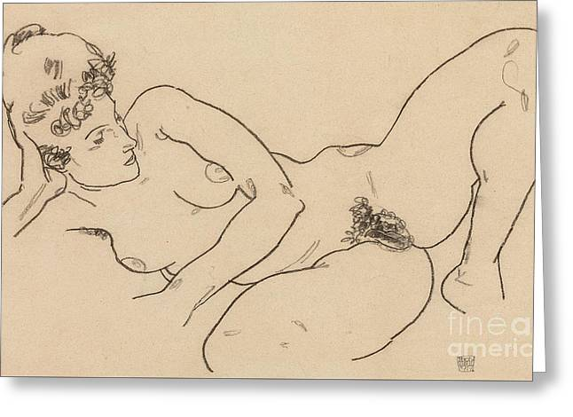 Reclining Nude Greeting Card by Egon Schiele