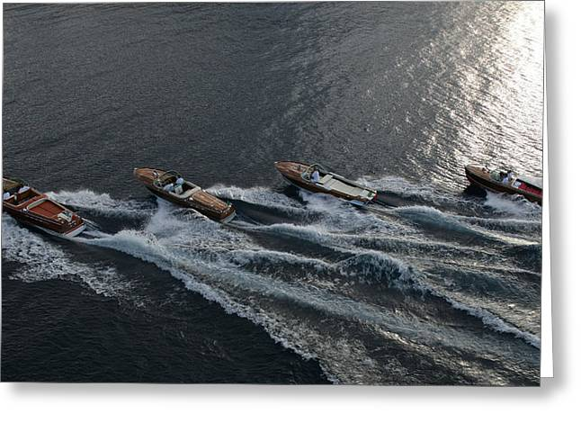 Riva Greeting Cards - Riva Runabouts Greeting Card by Steven Lapkin