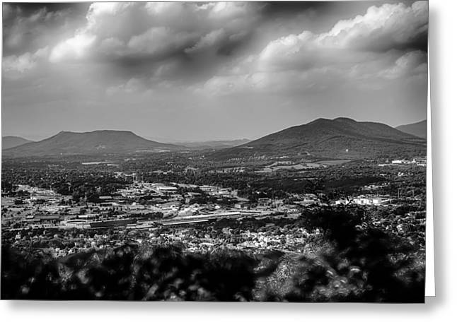 Roanoke City As Seen From Mill Mountain Star At Dusk In Virginia Greeting Card