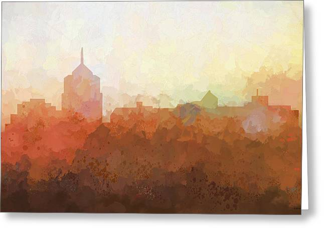 Greeting Card featuring the digital art Roanoke Virginia Skyline by Marlene Watson