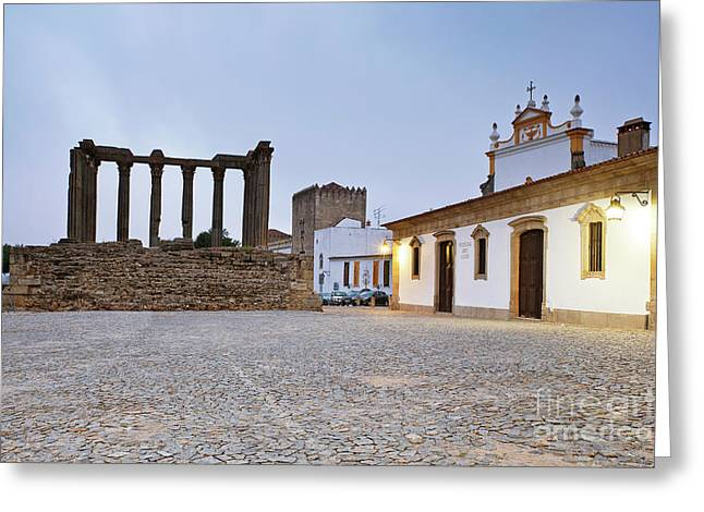 Town Square Greeting Cards - Roman Temple of Evora Greeting Card by Andre Goncalves