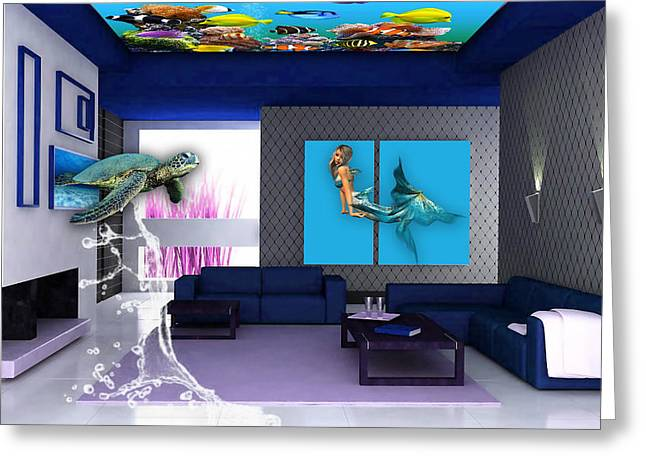 Rooftop Saltwater Fish Tank Art Greeting Card by Marvin Blaine