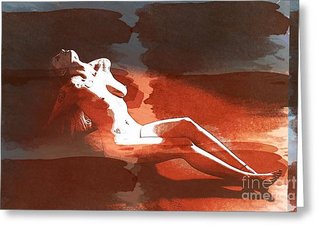 Rosie Nude Fine Art Print From Painting In Sensual Sexy Color 47 Greeting Card by Kendree Miller