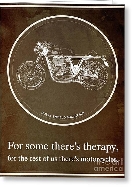Royal Enfield Bullet 500 And Motorcycle Quote Greeting Card by Pablo Franchi
