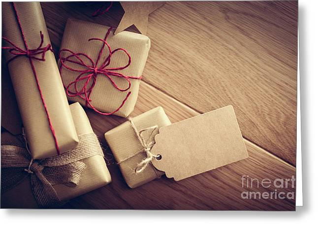 Rustic Retro Gift, Present Boxes With Tag. Christmas Time, Eco Paper Wrap. Greeting Card