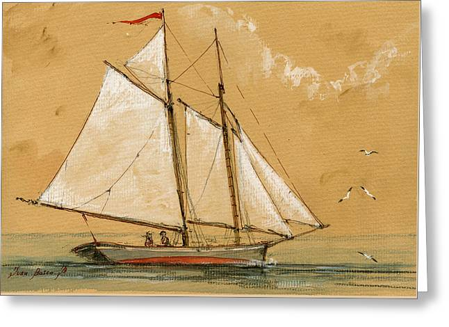Sail Ship Watercolor Greeting Card