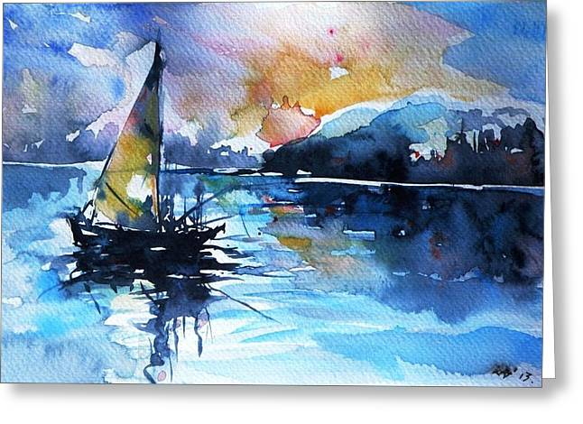 Greeting Card featuring the painting Sailboat by Kovacs Anna Brigitta