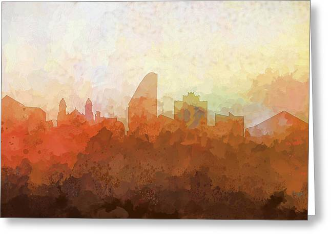 Greeting Card featuring the digital art San Jose California Skyline by Marlene Watson