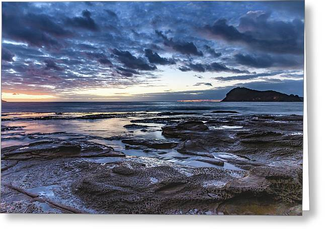 Seascape Cloudy Nightscape Greeting Card
