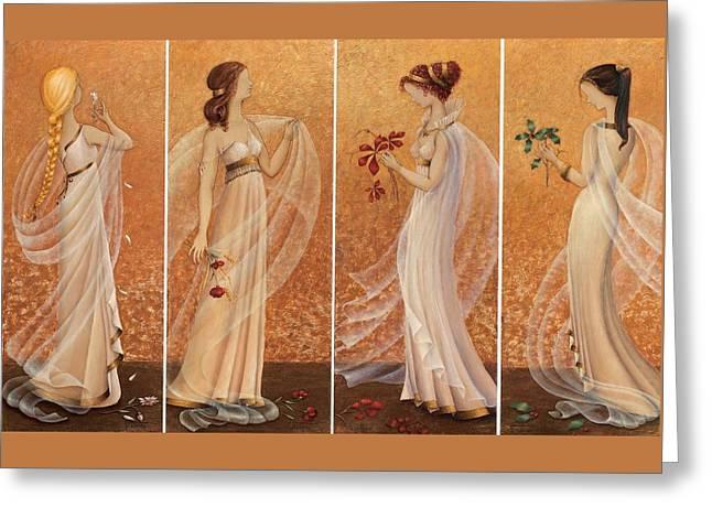 4 Seasons Greeting Card by Barbara Gerodimou