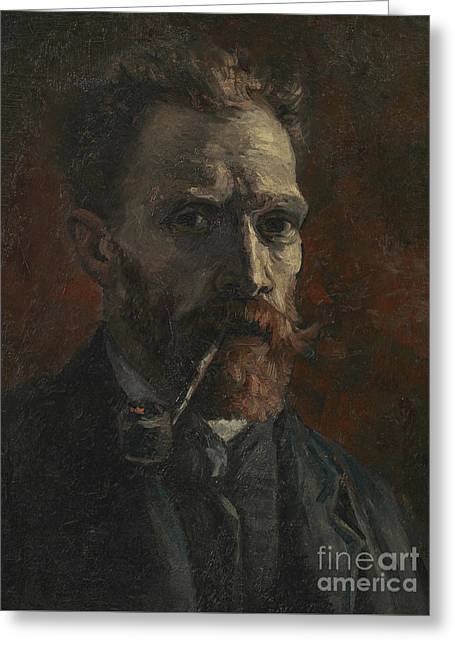 Self Portrait With Pipe Greeting Card by Vincent Van Gogh