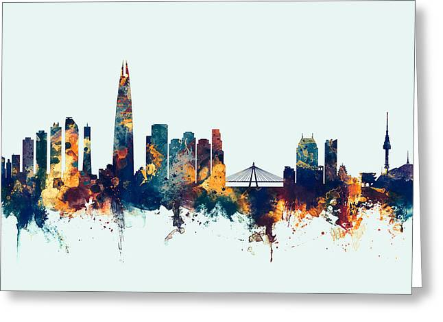 Greeting Card featuring the digital art Seoul Skyline South Korea by Michael Tompsett