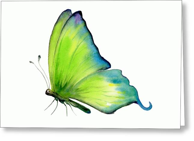 4 Skip Green Butterfly Greeting Card by Amy Kirkpatrick