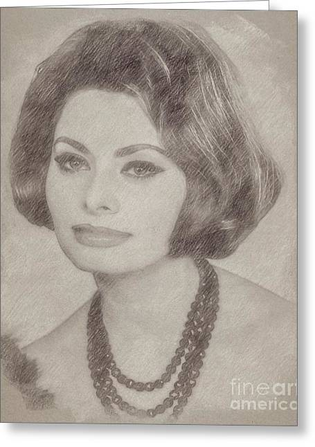 Sophia Loren Hollywood Actress Greeting Card by Frank Falcon