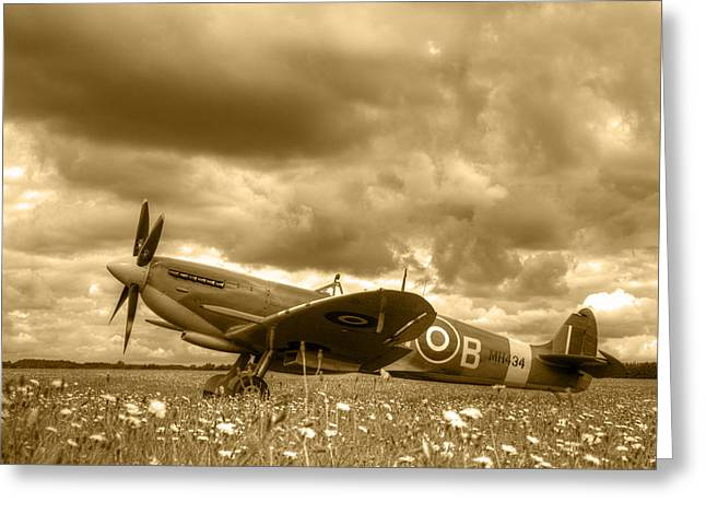D5000 Greeting Cards - Spitfire Mk IXB Greeting Card by Chris Day