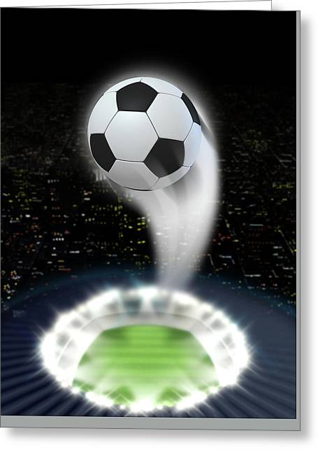 Stadium Night With Ball Swoosh Greeting Card by Allan Swart