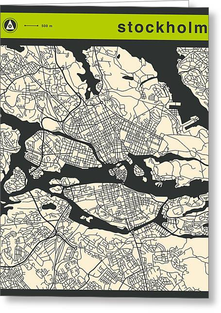 Stockholm Street Map Greeting Card by Jazzberry Blue