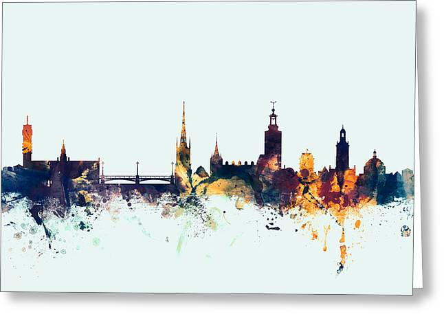 Stockholm Sweden Skyline Greeting Card by Michael Tompsett