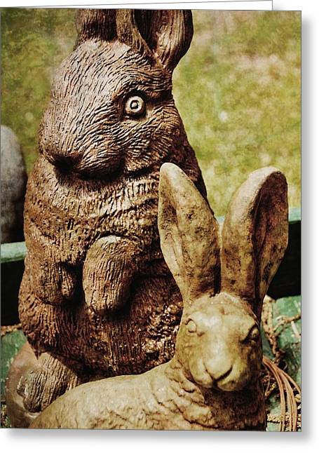 Stone Garden Bunnies Greeting Card by JAMART Photography