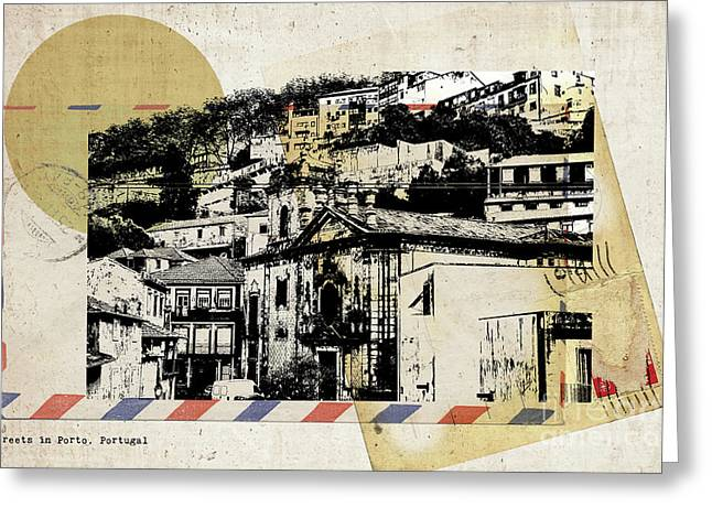 Greeting Card featuring the digital art stylish retro postcard of Porto  by Ariadna De Raadt