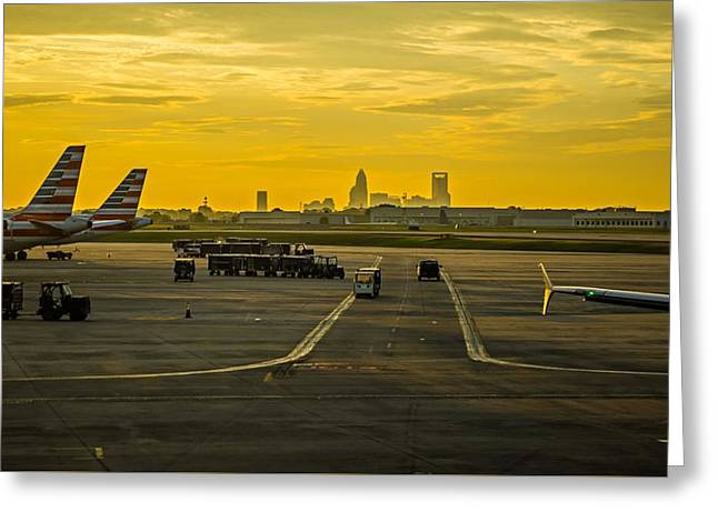 Sun Rising Early Morning Over Charlotte Skyline Seen From Clt Ai Greeting Card