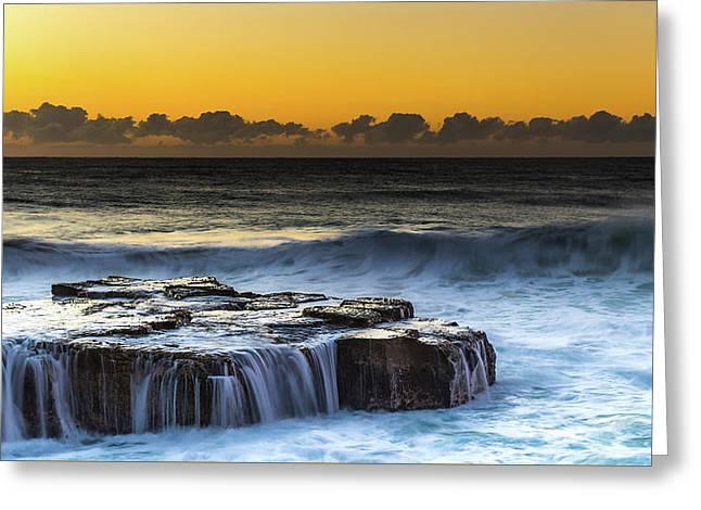 Sunrise Seascape With Cascades Over The Rock Ledge Greeting Card