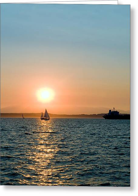 Sunset Sail Greeting Card by Tom Dowd