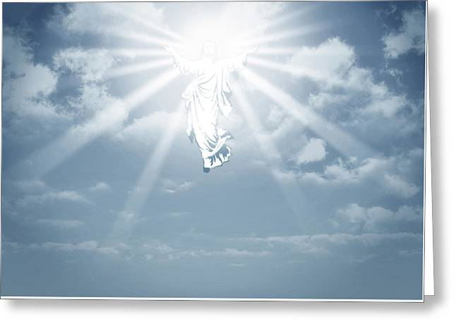 The Ascension And Resurrection Greeting Card by Allan Swart