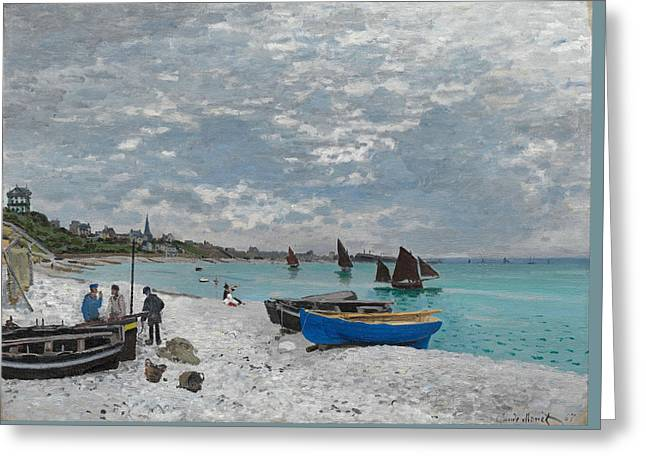 The Beach At Sainte-adresse Greeting Card by Claude Monet