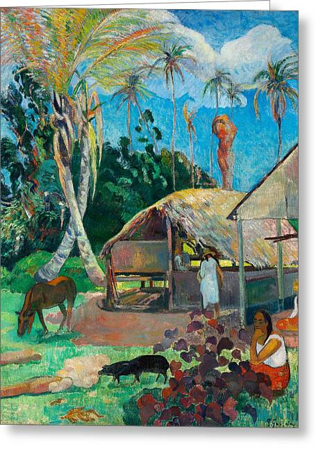 The Black Pigs Greeting Card by Paul Gauguin