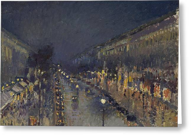 The Boulevard Montmartre At Night Greeting Card by Camille Pissarro