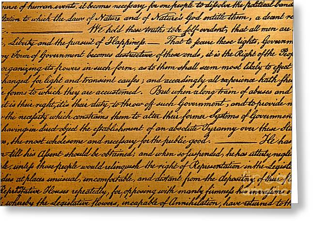 The Declaration Of Independence  Greeting Card by American School