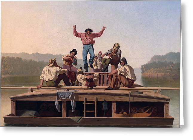 The Jolly Flatboatmen Greeting Card