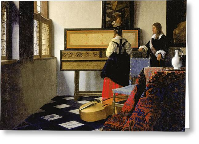 The Music Lesson Greeting Card by Johannes Vermeer