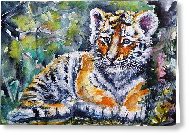 Greeting Card featuring the painting Tiger Cub by Kovacs Anna Brigitta