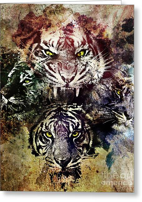 4 Tigers Greeting Card by Michael Volpicelli