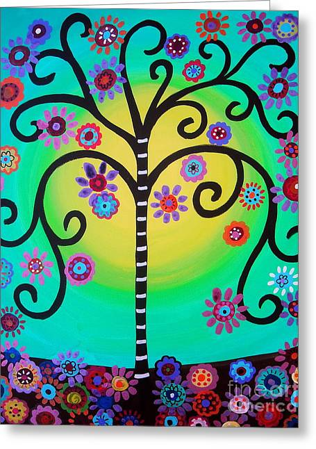 Greeting Card featuring the painting Tree Of Life by Pristine Cartera Turkus