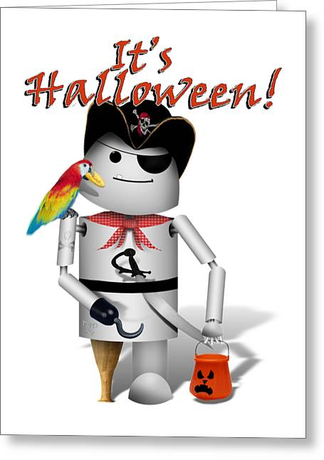 Trick Or Treat Time For Robo-x9 Greeting Card by Gravityx9 Designs