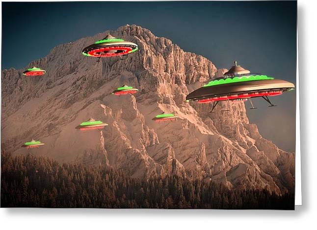 Ufo Invasion Force By Raphael Terra Greeting Card by Raphael Terra