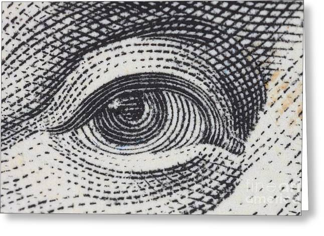 Us 100 Dollar Bill Security Features Greeting Card by Ted Kinsman