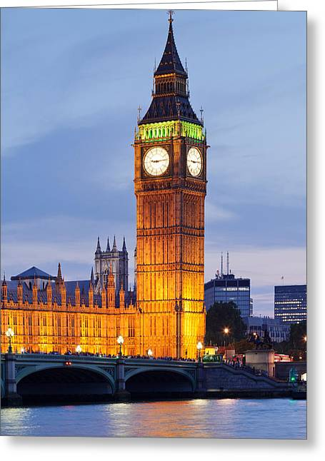 View Of Big Ben And Houses Greeting Card by Panoramic Images