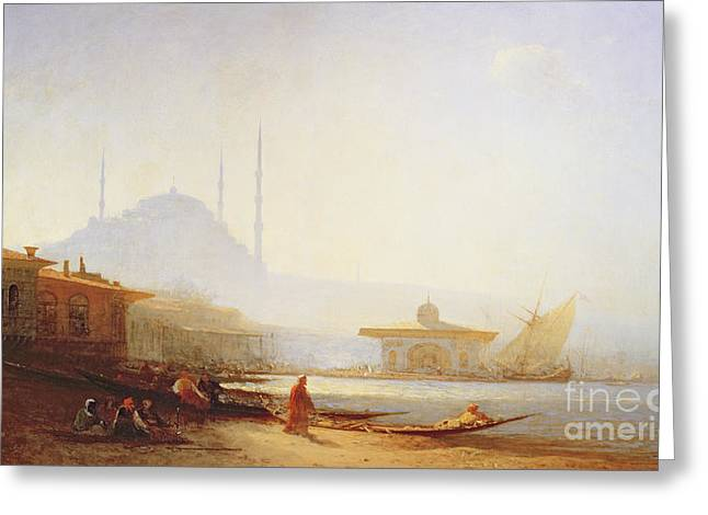 View Of Istanbul Greeting Card by Felix Ziem