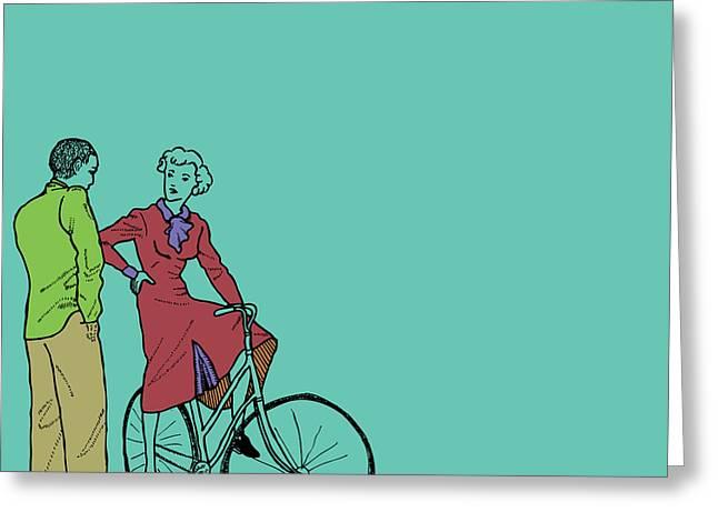 Vintage Bike Couple Greeting Card by Karl Addison