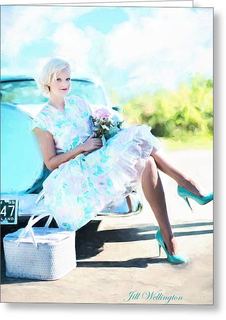 Vintage Val In The Turquoise Vintage Car Greeting Card by Jill Wellington