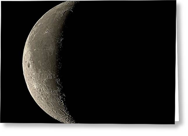 Waning Moon Greeting Cards - Waning Crescent Moon Greeting Card by Eckhard Slawik