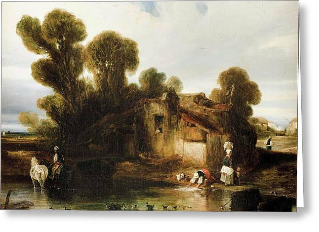 Washerwomen On The Outskirts Greeting Card by Alexander Gabriel