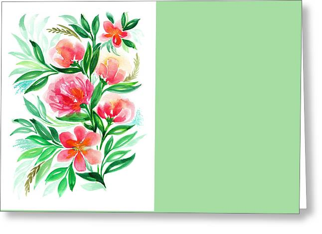 Watercolor Flower Painting Greeting Card by My Art