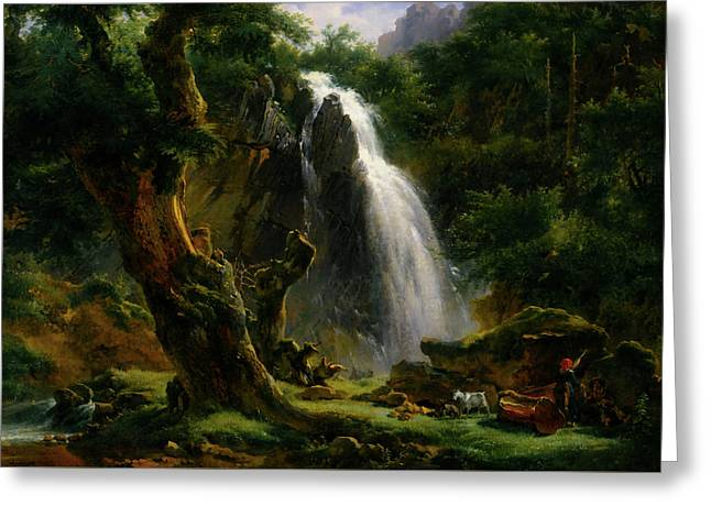 Waterfall At Mont - Dore Greeting Card by Achille - Etna Michallon