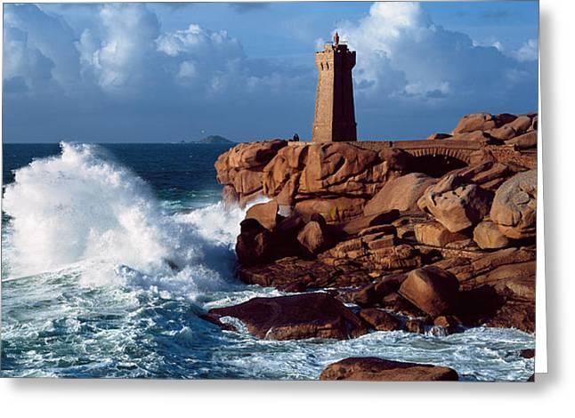 Waves Crashing At Ploumanach Greeting Card by Panoramic Images